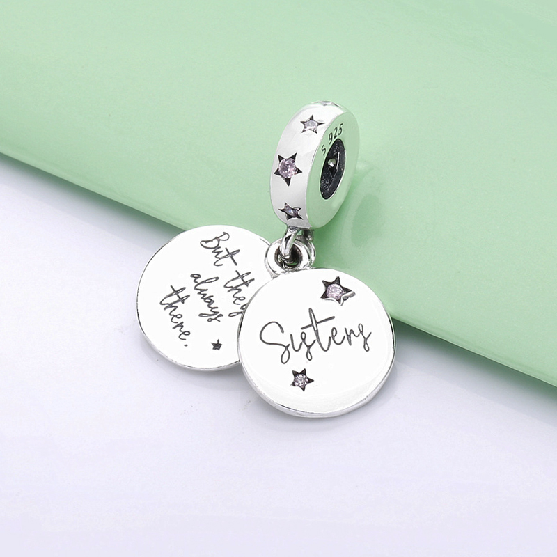 Подвеска из стерлингового серебра 925 пробы с бусинами очаровательные вечные сестры розовые бусы с кулоном в виде звезды подходят для брасле...