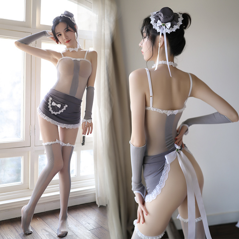 Sexy Maid Cosplay Erotic Stockings Set Maid Uniform Apron Porno Japanese Lingerie Sexy Play Costume