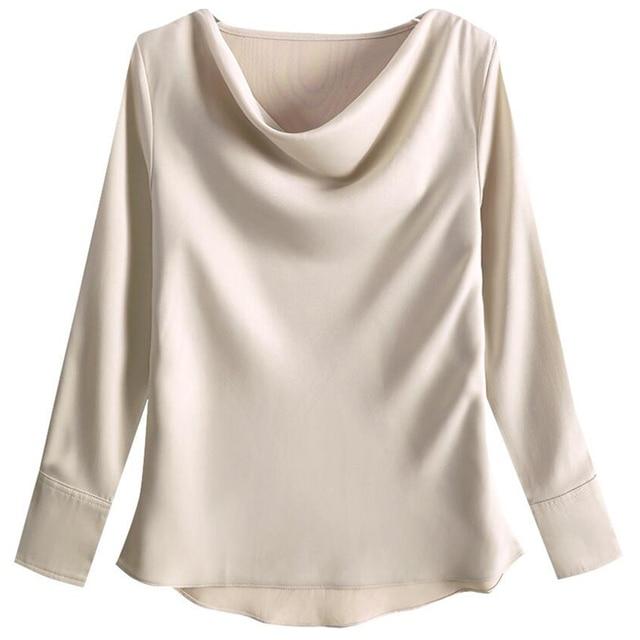 2020 Autumn Women Blouse Shirt Fashion Casual Long Sleeve Solid Color Loose Satin Shirt Plus Size Women Clothing 3