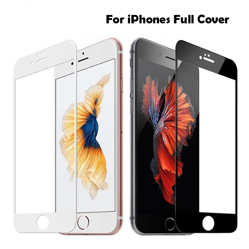 Full Cover Tempered Glass For IPhone 8 7 6 6s Plus 5s Screen Protector Film For X XR XS 11 Pro Max Glass Protection Black White