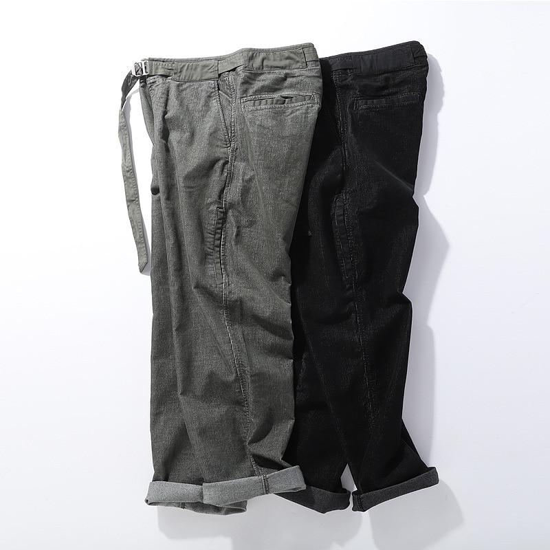 19 Winter Thick Corduroy Men's Casual Trousers Japanese Style Kaji Washing Loose Bib Overall With Drawstring Elastic Waist