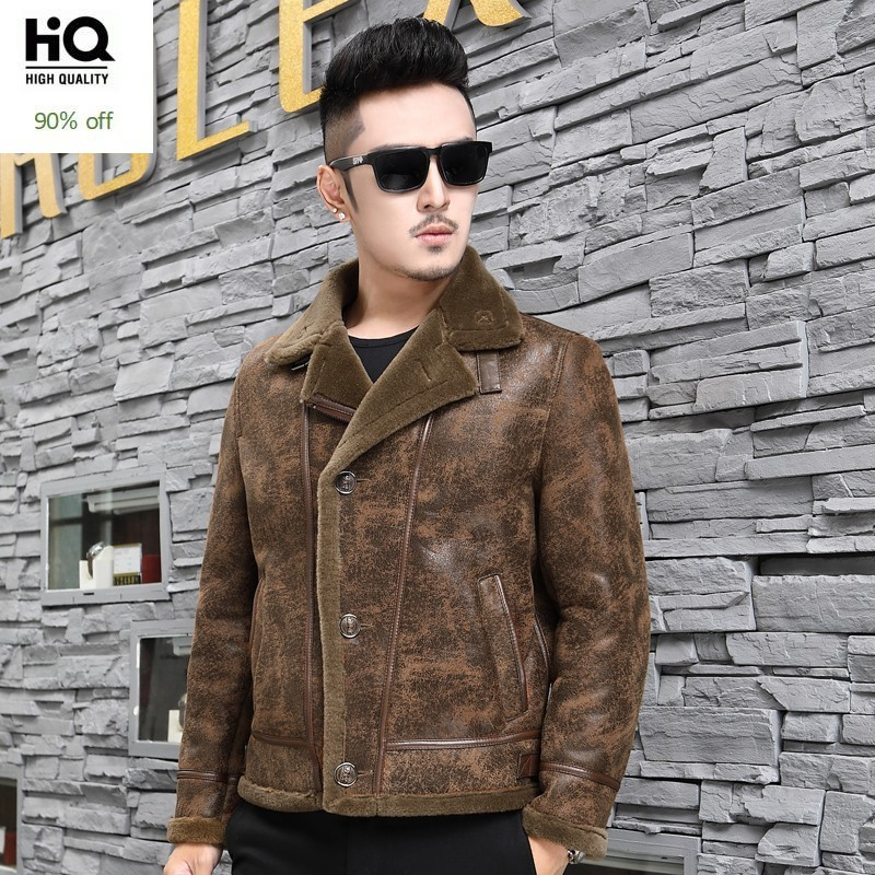 Winter Mens Wool Real Fur Lining Genuine Leather Jacket Luxury Shearling Coat Slim Fit Coat Thick Warm Bikers Overcoat Plus Size