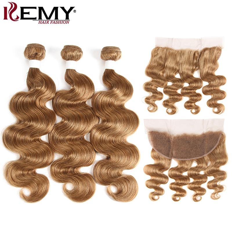 Light Brown 27# Brazilian Body Wave Human Hair Bundles With Frontal 13*4 KEMY HAIR 100% Non-Remy Human Hair Weaves Bundle 3/4PCS