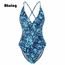 NEUE Bademode Frauen Ein Stück Badeanzug Brasilianische Drucken Swim Anzug Maillot De Bain Femme Une 2020 Verband Backless 1 Plus größe xxl(China)