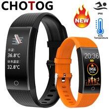 חכם צמיד גוף טמפרטורת שעון כושר Tracker צמיד IP68 עמיד למים ספורט מד צעדים כושר צמיד לחץ דם