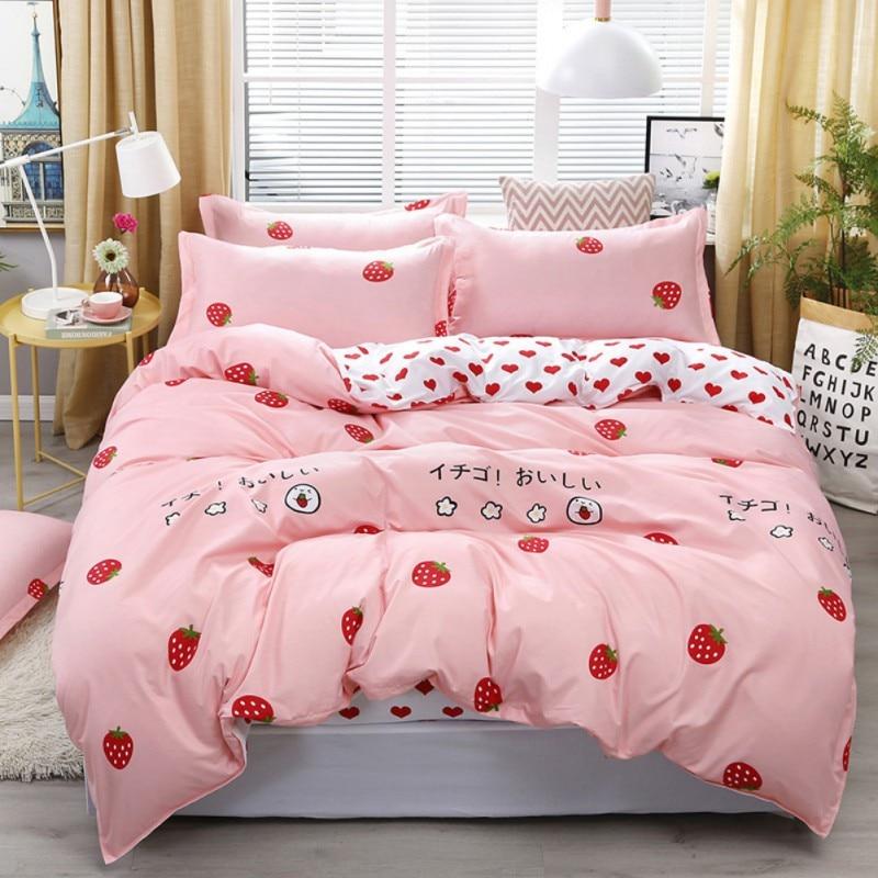 2019 nouveauté ensemble de quatre pièces garder au chaud doux coton ensembles de literie couverture taie d'oreiller drap de lit pour lit d'étudiant 1.5m