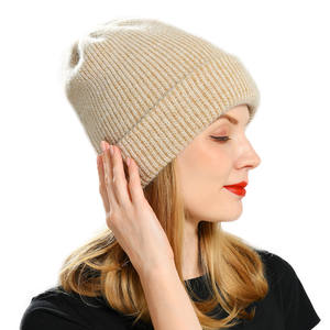 Winter Hat Knitted Beanies Wool Rabbit-Cashmere Warm Vogue Thick Women Ladies for Angora