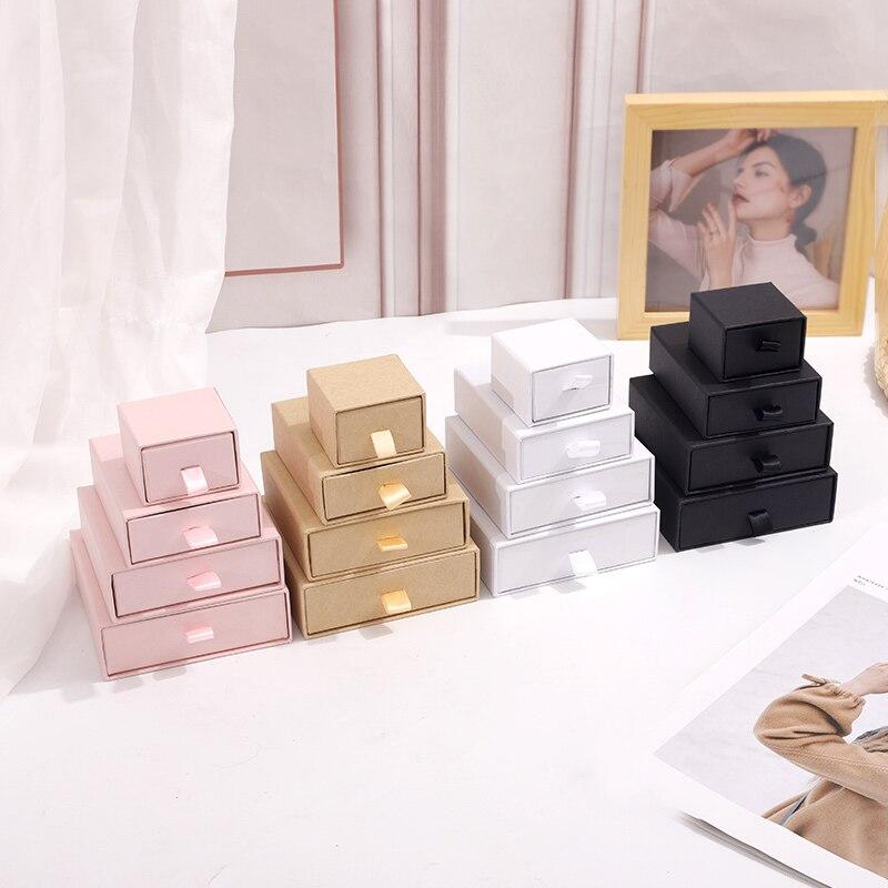 White Paper Gift Box Jewelry Display Organizer Storage Box Chic Jewerly Packaging Bulk Drawer Cardboard