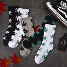 Fashion comfortable high quality cotton socks leaf maple leaves casual long paragraph hemp weed boat socks spring and autumn(China)