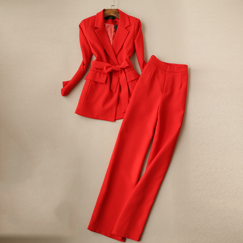 Fashion Women's Pants Suit Korean Temperament Casual Slim Red Ladies Jacket Blazer Elegant Wide-leg Trousers Two-piece Set 2019