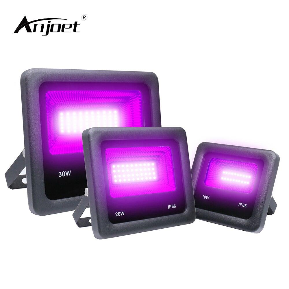 ANJOET UV LED Floodlight 10W 20W 30W 50W แสงอัลตราไวโอเลต 395nm โคมไฟ 85-265V หลอดฟลูออเรสเซนต์สีดำฮาโลวีน PARTY PROM