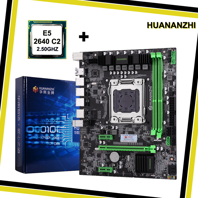 Promotion HUANANZHI X79 LGA2011 <font><b>motherboard</b></font> CPU combos processor Intel <font><b>Xeon</b></font> <font><b>E5</b></font> <font><b>2640</b></font> SROKR 2.5GHz all are tested before shipping image