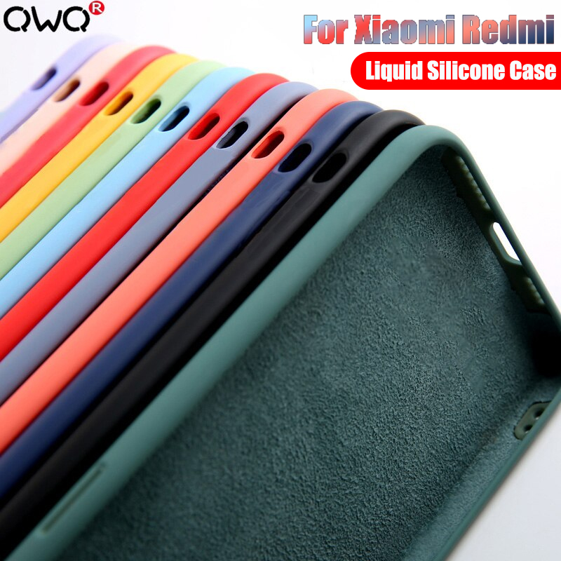 Original Liquid Silicone Case For Redmi Note 9S 8 7 10 6 5 For Xiaomi Mi 9T K20 K30 Pro A3 9 SE 10 Lite Luxury Back Cover Cases(China)