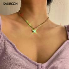 salircon geometric scallop chain necklace charming rhinestone transport new pendant necklace gold silver alloy women jewelry Salircon Fashion Rhinestone Heart Pendant Necklace For Women Kpop Tennis Chain Crystal Choker Necklace Gold Color Couple Jewelry