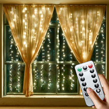 Fairy Lights Copper Wire LED Curtain String Lights Christmas Garland Indoor Bedroom Wedding New Year Decoration Battery Powered