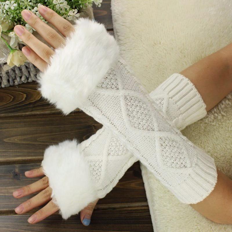 Women Fingerless Gloves Cute Faux Rabbit Fur Knitted Gloves Female Winter Knitting Warmer Wrist Long Hand Gloves Mitten