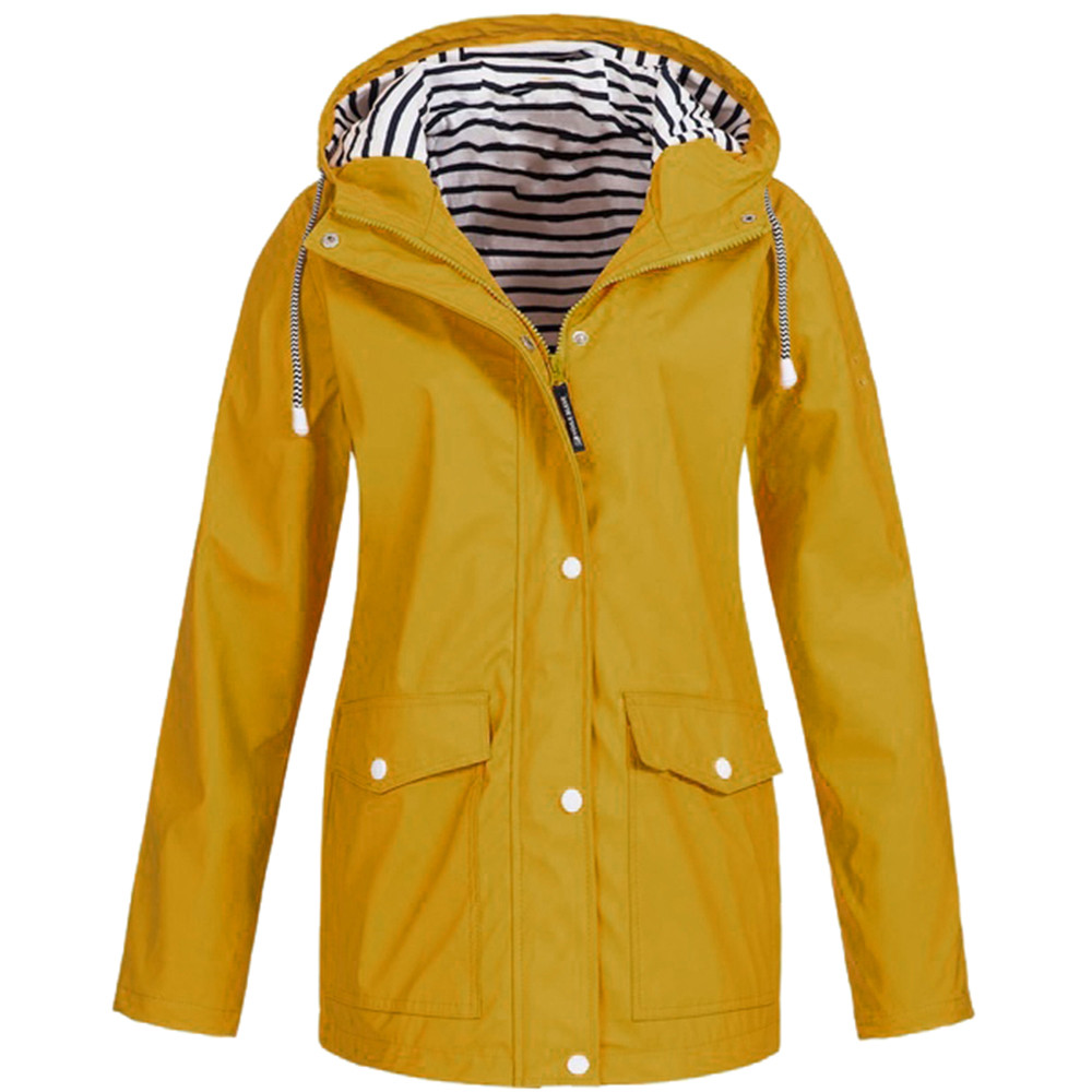 Womens Solid Rain Jacket Outdoor Jackets Waterproof Hooded Raincoat Windproof Plus blouse Hooded long Raincoat Windproof(China)