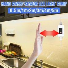 Oświetlenie podszafkowe USB 5V ręczny przełącznik Sweep inteligentne oświetlenie kuchni 1/2/3/4/5M wodoodporna taśma LED taśmy Led szafa lampa