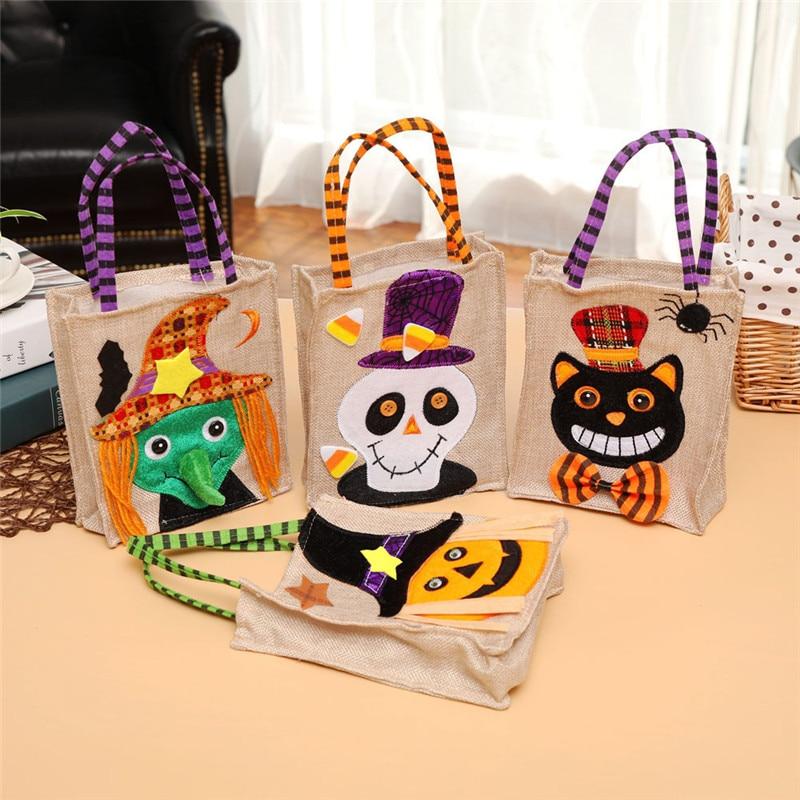 Halloween canvas bag Felt Creative cartoon pumpkin witch gift Storage Bags dress up with linen candy bags Helloween Decorati