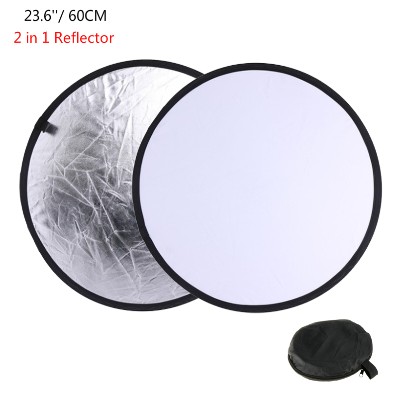 "23.6"" 60cm 2 In1 Collapsible Portable Light Reflector Round Photo Studio Diffuser DISC Silver White Studio Photography Reflector"