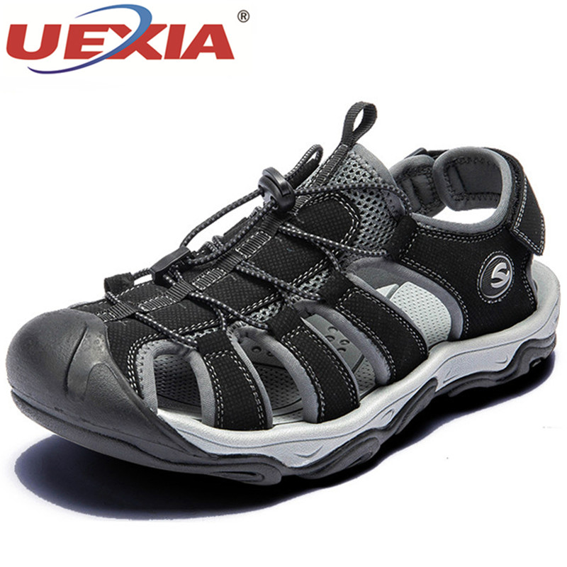 UEXIA New Fashion Men Beach Sandals Size 39-46 Roman Style Summer Leather Shoes For Beach Outdoor Walking Male Hollow Breathable