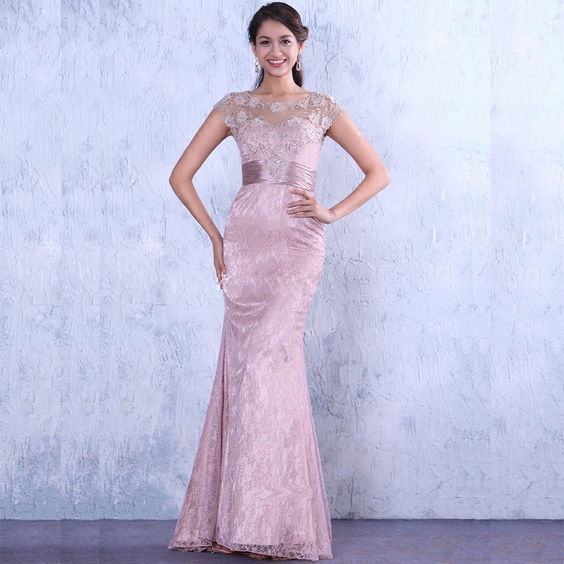 Evening Party Saree Robe De Soiree Courte Pink Lace Appliques Beading Sexy Mermaid Long Michael Korns Mother Of The Bride Dress