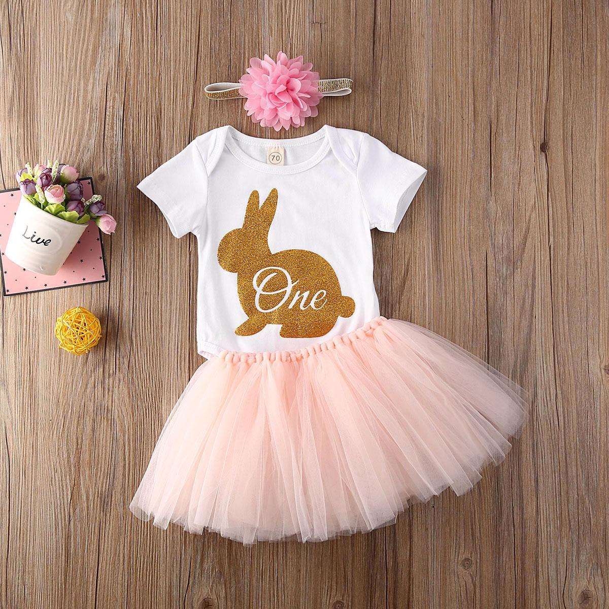 3PCS Baby Girl 1st Easter Outfit Party Rabbit Romper Cake Smash Tutu Dress