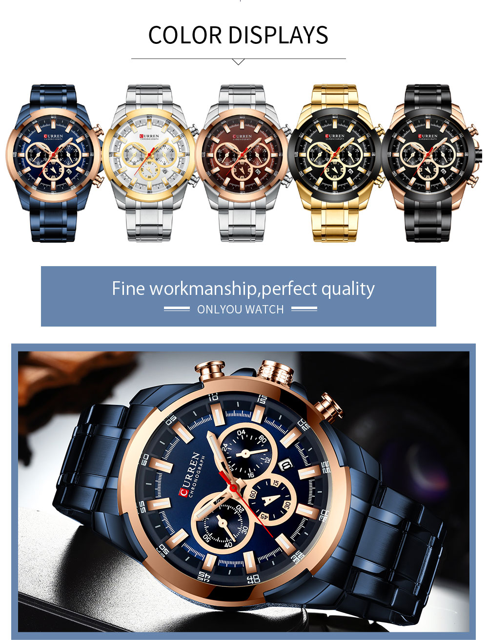 Image 5 - CURREN Man WristWatch Waterproof Chronograph Men Watch Military Top Brand Luxury Gold New Stainless Steel Sport Male Clock 8361Quartz Watches   -