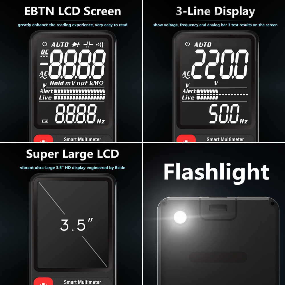 "BSIDE multímetro Digital Ultra-portátil de 3,5 ""Pantalla LCD DC AC Voltímetro analógico de DIY medidor de capacitancia NCV Ohm, Hz ensayador"