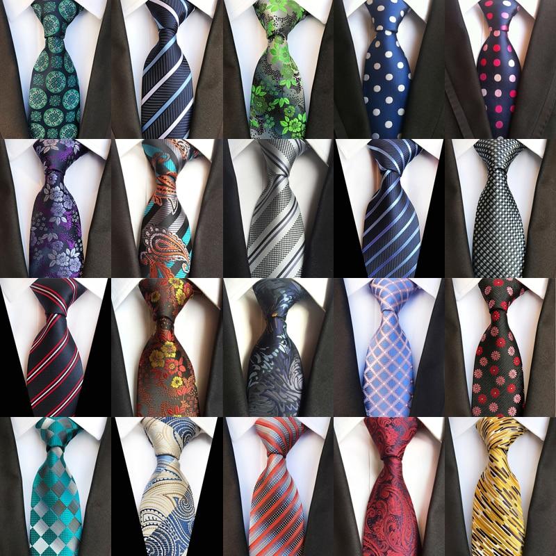 New Classic Men's Ties 100% Silk Neck Ties 8cm Polka Dot Stripes Floral Necktie For Men Formal Business Wedding Party Neckties