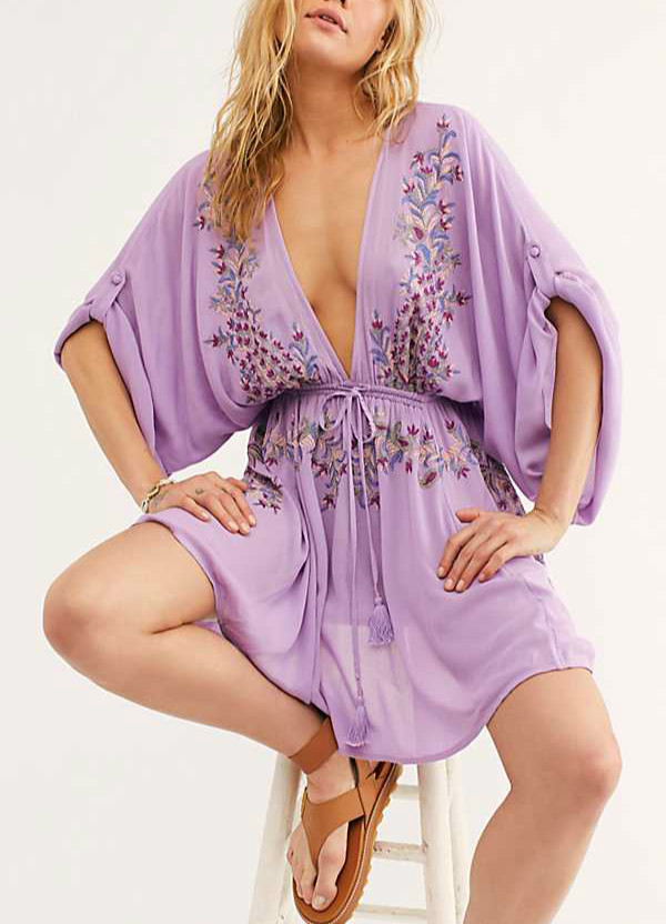 TEELYNN purple Floral Embroidery boho short <font><b>dresses</b></font> women cover up beach robe summer 2020 vintage <font><b>sexy</b></font> deep V-neck <font><b>mini</b></font> vestidos image