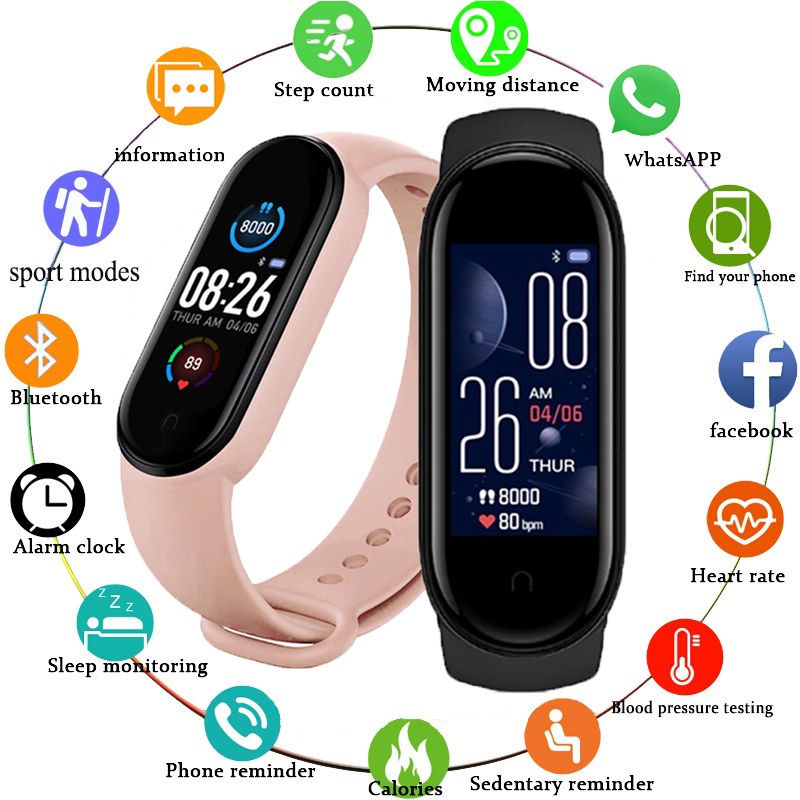 M5 Men Women Smart Watch Sport Smartwatch Heart Rate Blood Pressure Monitor Fitness Bracelet for Android/IOS 1