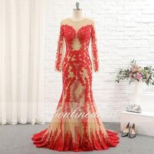 Женское вечернее платье с юбкой годе Красное Длинное кружевное