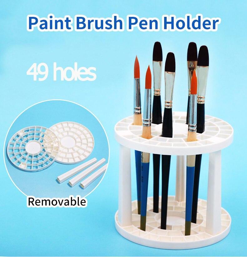 Paint Brushes Pen Holder 49 Holes Pen Rack Display Stand Support Holder Watercolor Painting Brush Pen Holder Art Supplies
