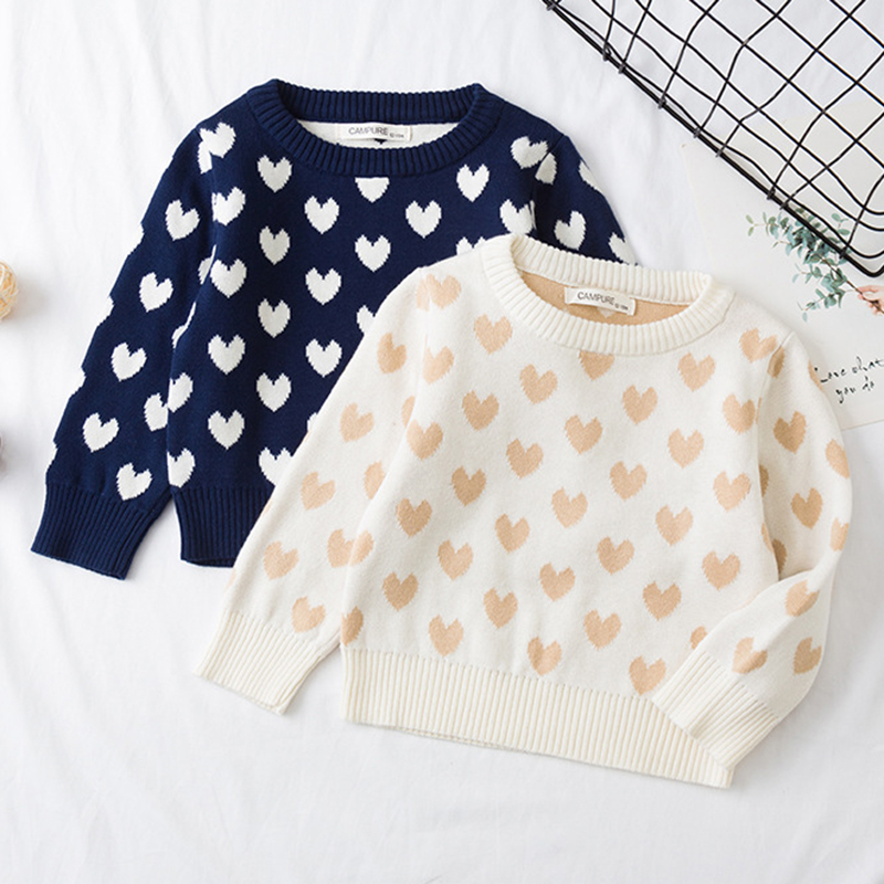 1-6Yrs New 2020 Boy Girl Long Sleeve Loving Heart Knitted Sweater Autumn Winter Boys Girls Sweaters For Baby Girls Kids Sweater 1