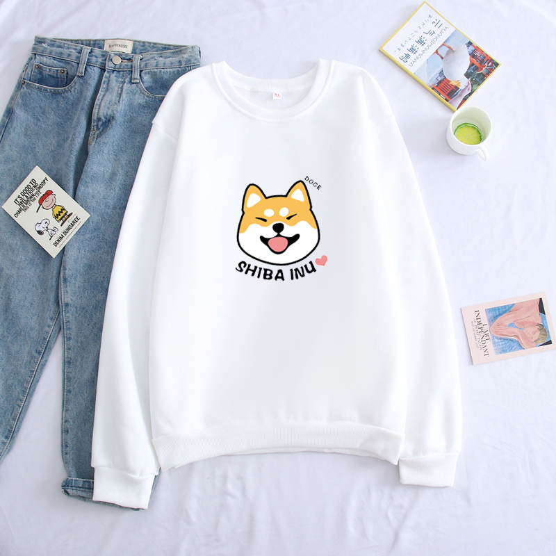 Shiba Inu Dog Cute Kawaii Sweatshirt Men Hoodie Crewneck Sweatshirts Winter Autumn Streetwear Smiling Smile Cartoon Sportswear