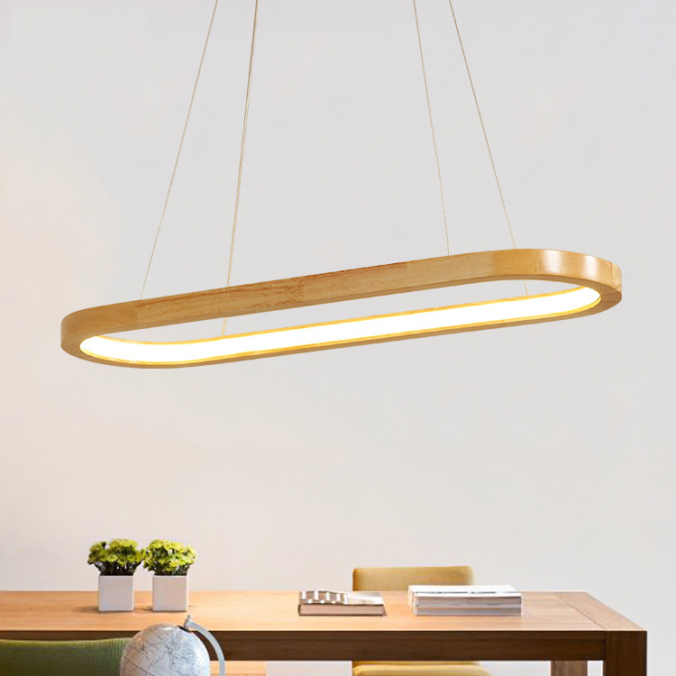 Wooden Ring Chandelier Living room Bedroom Kitchen oval chandelier Lustre Indoor home Led Pendant lamp Fixtures