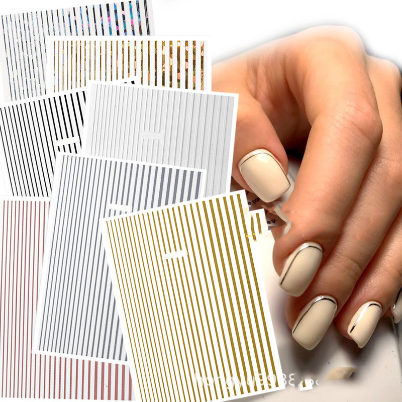 1 Pc Nail Strip Stickers Black/Gold/Rose Gold/Silver Metal Strip Tape Nail Art Adhesive DIY Foil Tips Nail Sticker Decals NK11
