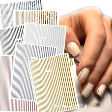 1 Pc Kuku Strip Black/Gold/Rose Gold/Silver Strip Tape Nail Art Perekat DIY foil Tips Kuku Stiker Stiker NK11(China)