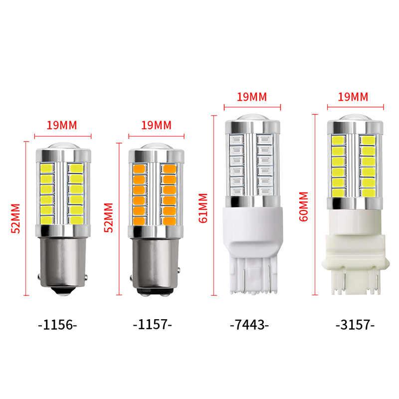 CARCTR LED araba fren lambaları BA15S P21W 1156/1157/7743/3157 yedekleme ters işık 33-SMD 5630 12V 3W araba dönüş sinyal lambaları 1 çift