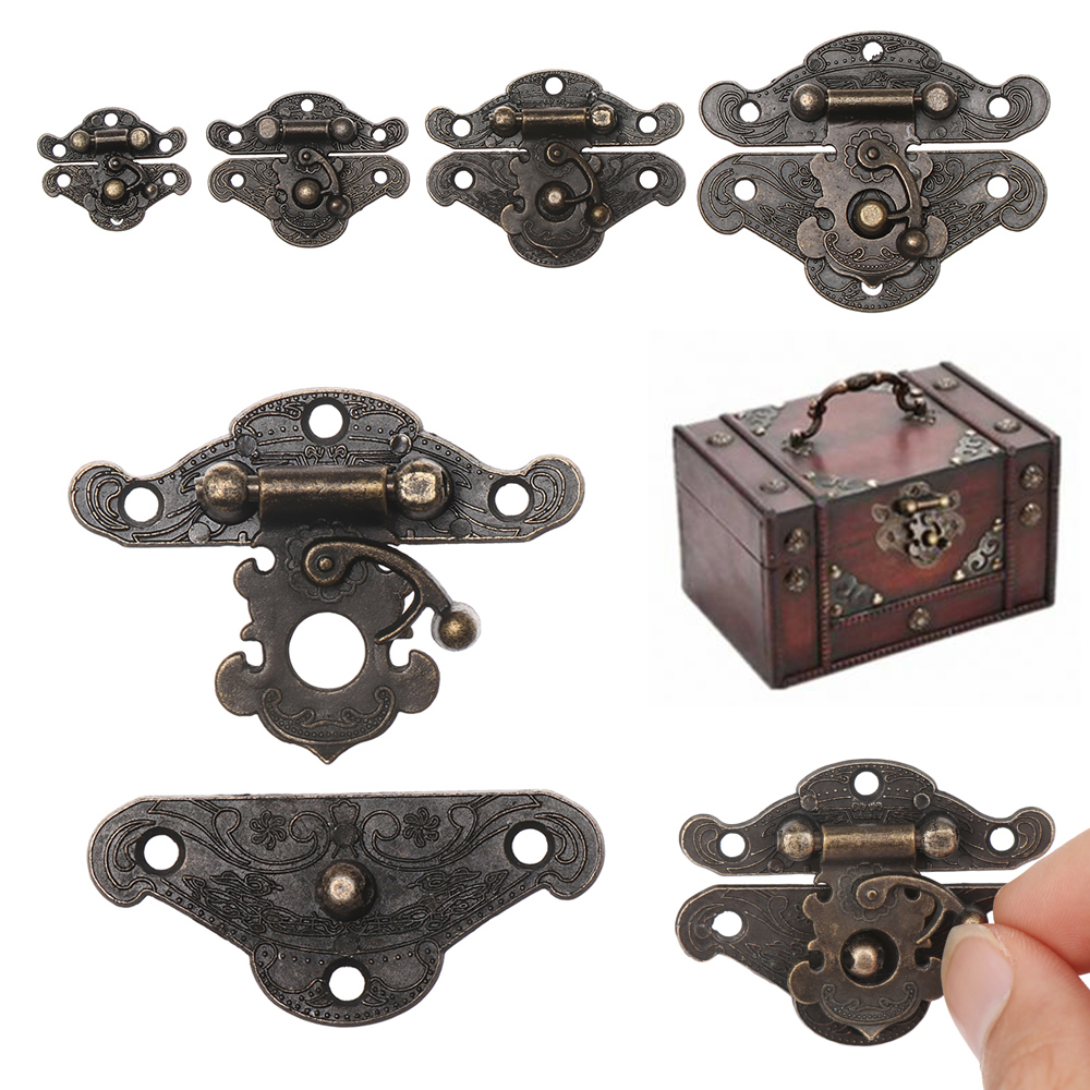 Retro Hasp with Screws Antique Jewelry Wooden Box Chests Cases Hasp Lock Latch