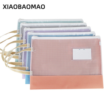 XIAOBAOMAO Transparent file organizer a4 documents file bag folder PVC file bag paper holder office school comix ix894 paper index card a4 11 holes for documents file display free shipping