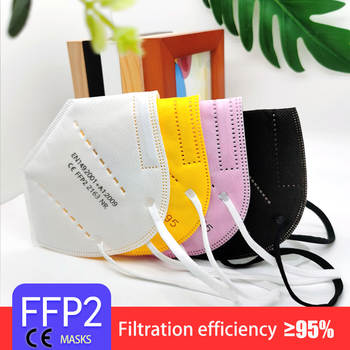 5 Layers FFP2 MASK Adult Black KN95 Fabric Mask Mascarillas Protective Mouth Face Mask KN95 Filter Respirator FFP2MASK Masque
