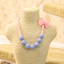 Beads Necklace Party-Accessories Pearl-Choker Fashion Jewelry Girls Kids for Bowknot