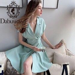 Dabuwawa в винтажном стиле; Пикантные однотонные Разделение подол платья для женщин двубортный без рукавов с вырезом в форме буквы V вечерние пл...