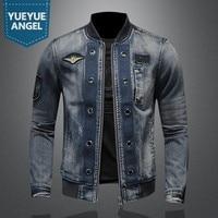 Men Vintage Stand Collar Pilot Coat Denim Bomber Jacket Plus Size 5XL Slim Fit Zipper Jeans Outerwear Fashion Mens Biker Jackets