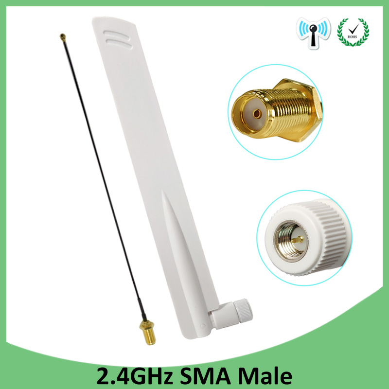 2pcs 2.4Ghz Wifi Antenna 8dbi SMA Male Omni-Directional 2.4 Ghz Antenne Router Wi Fi Antena +21cm RP-SMA Male Pigtail Cable