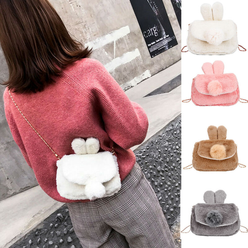 Winter Faux Fur Children Bag For Girl Purse And Handbag Kid Wallet Kawaii Rabbit Ear Baby Girl Mini Shoulder Bag Messenger Bags