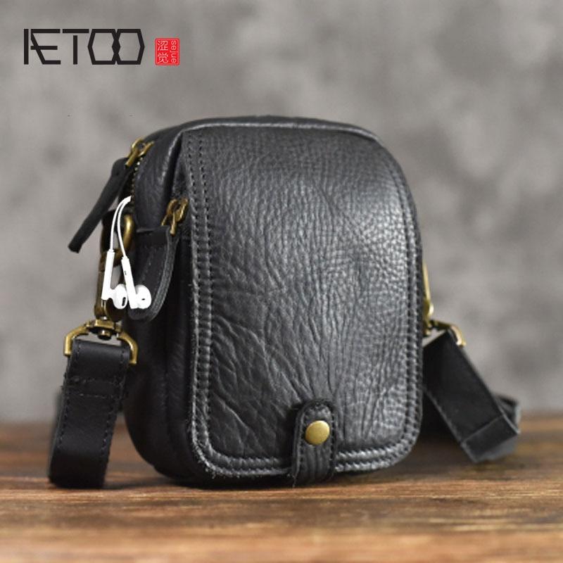 AETOO genuine Leather Messenger Bag casual vintage Original Leather Phone Pocket Shoulder Bag Mini Men's Soft Leather Small Bag