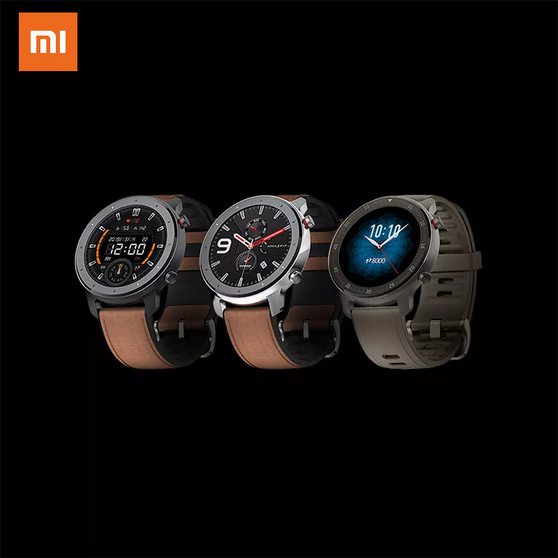 Xiaomi Amazfit GTR smart watch 47mm5atm waterproof smart watch 24 day battery music control leather silicon strap|Smart Watches|   - AliExpress